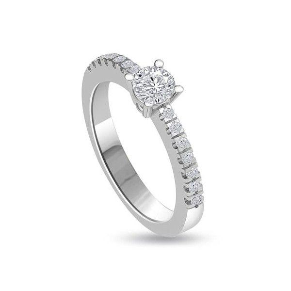 ANELLO DI FIDANZAMENTO SOLITARIO COMPOSTO CON DIAMANTE SUL GAMBO 18CT ORO BIANCO | Solitario Composto con 14 Diamanti sul gambo. Il peso totale dei carati per questo anello va da 0.35ct a 0.60 con il diamante centrale da 0.21ct a 0.46ct. I 14 diamanti laterali pesano 0.01ct ciascuno per un totale di 0.14ct. I diamanti sono taglio brillante montati in griffe sono disponibili da F ad H colore e da VS1 a HSI1 purezza.L`anello e` accompagnato dal certificato del diamante.
