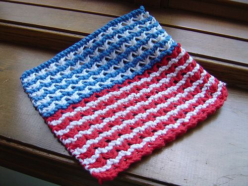 Knitted Dishcloth Pattern With Star : Broad Stripes and Bright Stars Stitches, Yarns and Dishcloth