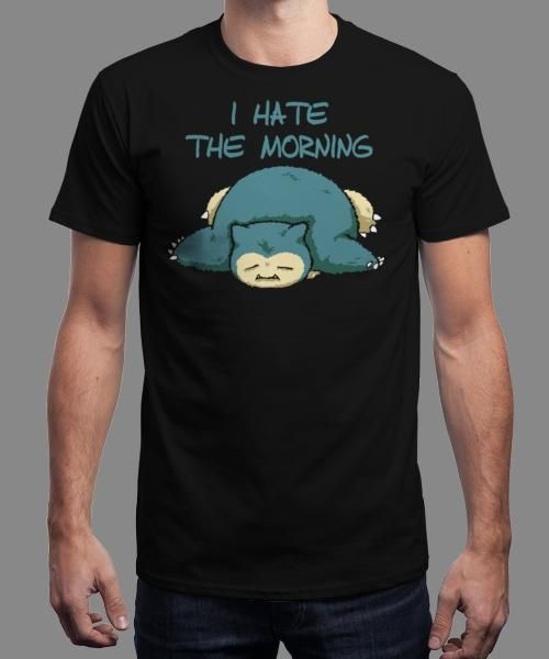"""I Hate the Morning"" is today's £8/€10/$12 tee for 24 hours only on www.Qwertee.com Pin this for a chance to win a FREE TEE this weekend. Follow us on pinterest.com/qwertee for a second! Thanks:)"