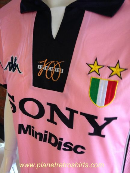 Juventus PINK DEL PIERO 1997-98 Centenary Pink Shirt. Made by Kappa. Very rare Juventus away shirt PLAYERS EDITION FULLY VENTED DOWN EACH SIDE FABRIC- CALCIO PATCH ON RIGHT SLEEVE. As worn during the club's centenary season. Marcello Lippi's side won Serie A but were beaten in the Champions League Final by Real Madrid. Squad players included, Del Piero, Zidane, Inzaghi & Deschamps.