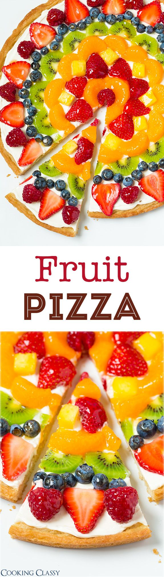 Fruit Pizza ~ Love the sweet cream cheese topping with all the fresh fruit... Recipe for homemade crust and store-bought method included