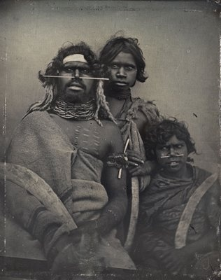 An 1847 daguerreotype of a south-east Australian Aboriginal and two younger companions. (NGA: Douglas T. Kilburn )