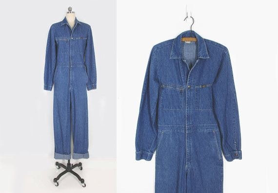 vintage 70s lee denim jumpsuit, long sleeve blue jean jumpsuit, made in usa - womens xs / s