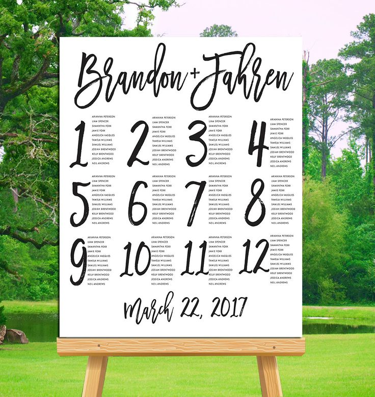 Brush Script Seating Chart, Seating Chart Printable, Wedding Seating Chart  Template, Alphabetical Seating Chart, Seating Chart Poster