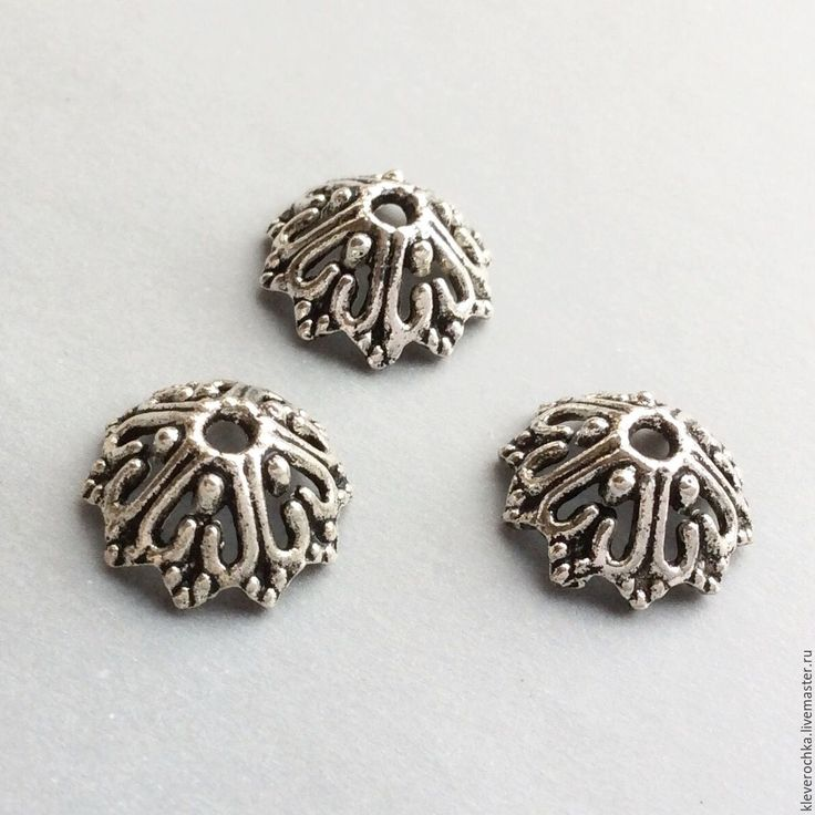 Купить Шапочки 13,5 мм цвет серебро для бусин для украшений - металлическая фурнитура, металлофурнитура