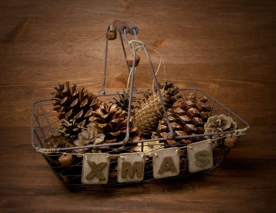 Rustic Wire Basket XMAS by ForMomentsinTime on Etsy