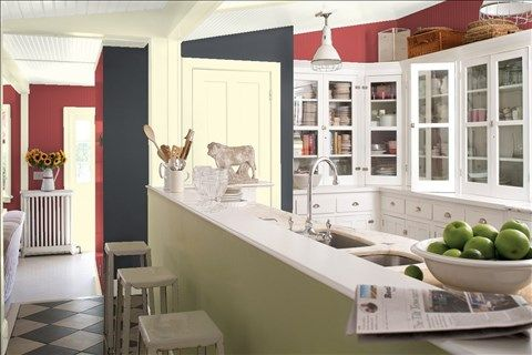 Look at the paint color combination I created with Benjamin Moore. Via @benjamin_moore. Wall: Maple Leaf Red 2084-20; Accent Wall: Temptation 1609; Trim: Pale Straw 2021-70; Ceiling: White Dove OC-17.