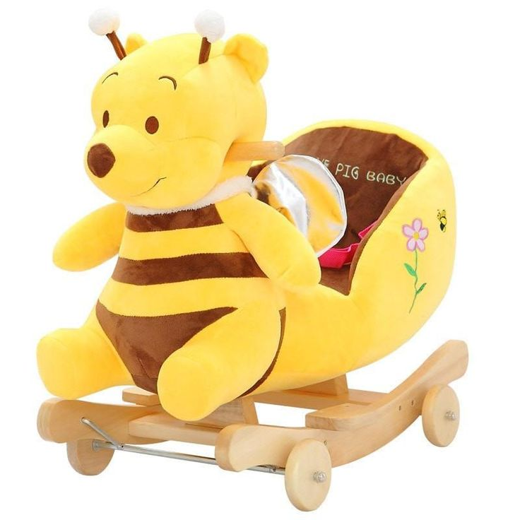 Adorable Kingtoy Plush Winnie The Pooh Wood Children's Rocking Horse w/Music & Converts to Stroller-Loluxe