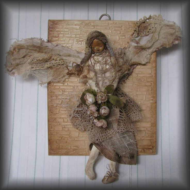 old angel on canvas - Shabby chic  scrapdecor