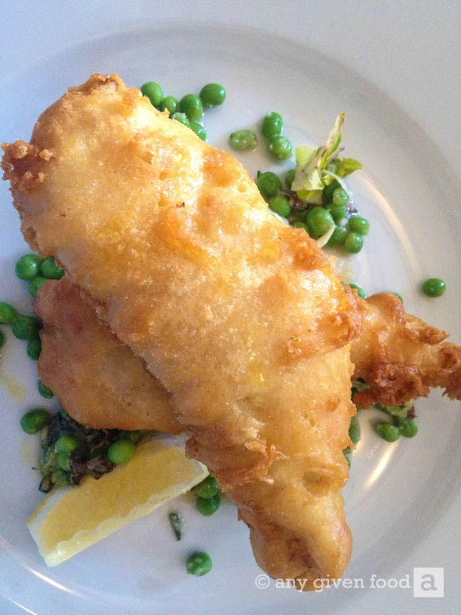 Fresh fish 'n' chips at Foodworks, Kilkenny, with  celeriac remoulade and garden peas.