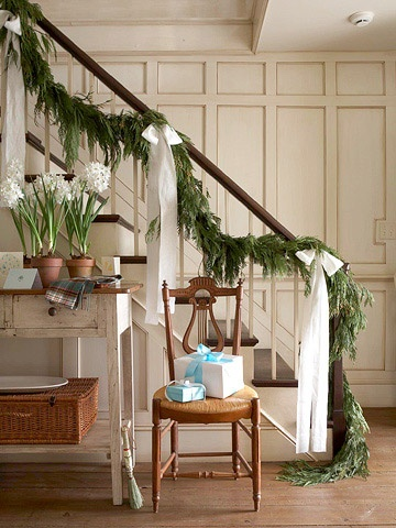 Simples. Boughs. a breathe of spring in the light blue and the Amarylis in pots... a lovely idea:)