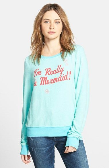 Free shipping and returns on Wildfox 'I'm Really a Mermaid' Pullover at Nordstrom.com. Reveal your inner Ariel in an oversized pullover sweatshirt inscribed with fun red lettering.