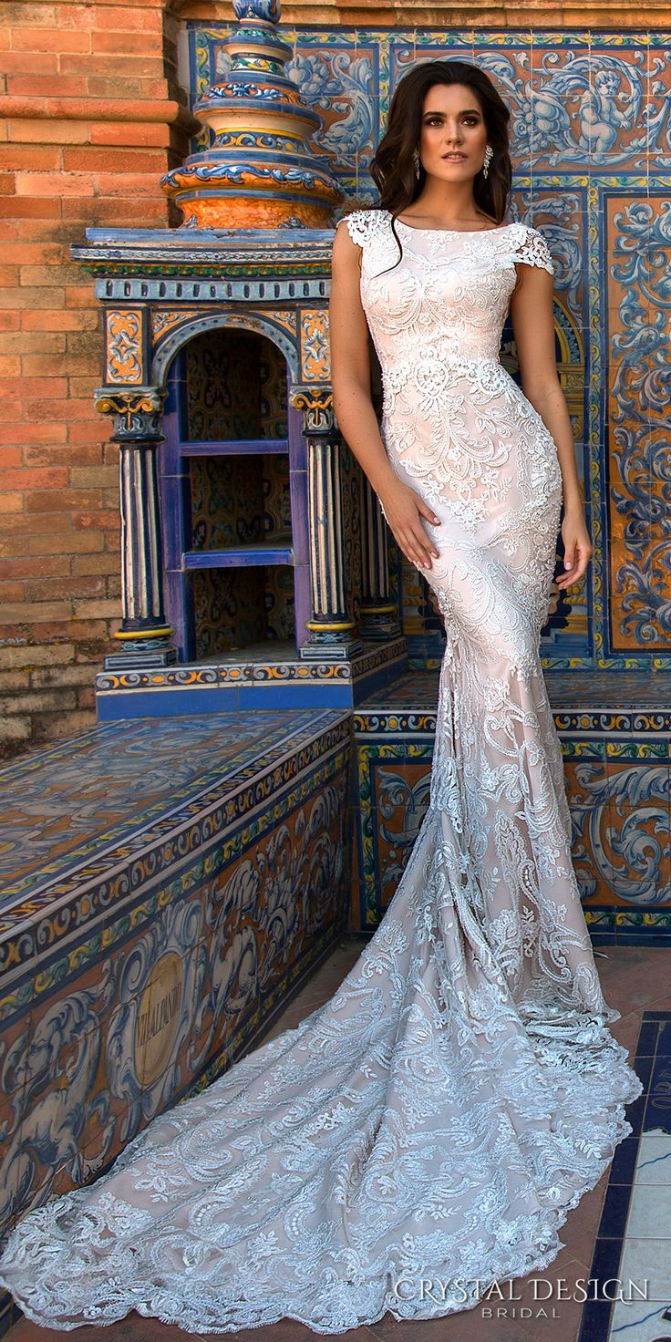 Crystal Design 2017 bridal cap sleeves bateau neckline full embellishment elegant lace sheath wedding dress low back chapel train (ostin) mv #bridal #wedding #mermaid