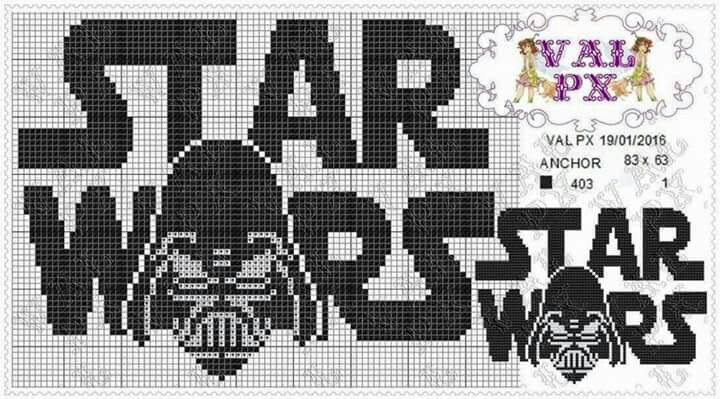 Star Wars and Darth Vader x-stitch
