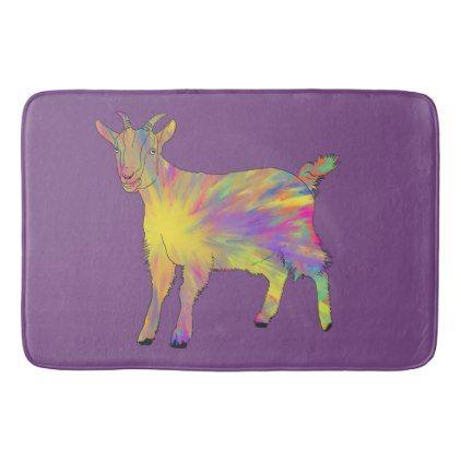 #Multicoloured Abstract Art Goat Animal Art Design Bathroom Mat - #Bathroom #Accessories #home #living