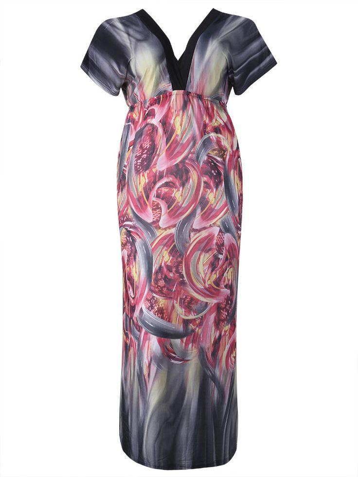 Elegant Women Printed Ice Silk Bohemian Party Maxi Dress