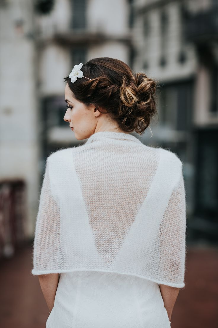 tole de marie tricot pour mariage maille mohair accessoire mariage hiver - Etole Blanche Pour Mariage