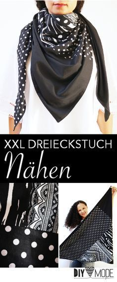 XXL Dreieckstuch nähen / DIY MODE Näh-Anleitung                                                                                                                                                                                 Mehr