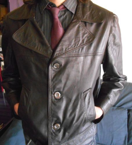 VINTAGE-late-60-039-s-MENS-LEATHER-JACKET-MOD-Style-Size-38-40-sul-petto
