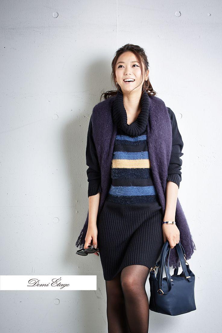 ワンピにストールを垂らすだけでお洒落感倍増! #kumiko_coordinate #大人カジュアル #demi_etage #ドゥミエタージュ #ニットワンピ  #バッグ #ストール #ボーダーワンピ #パープル #冬コーデ #ootd #fashion #lady