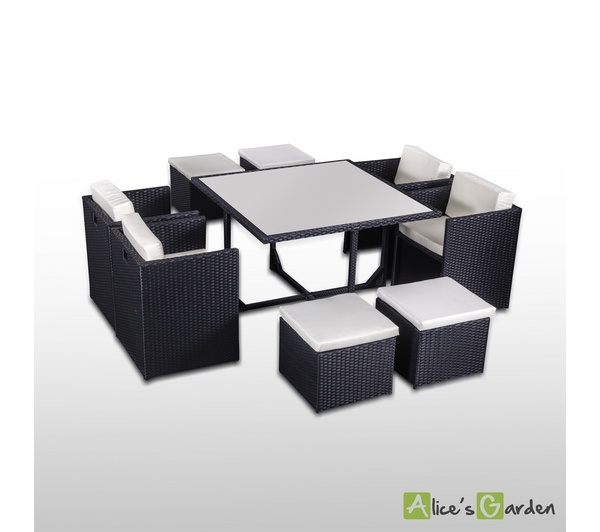 Alice S Garden Salon De Jardin Table En Resine Tressee Noir Places Encastrable