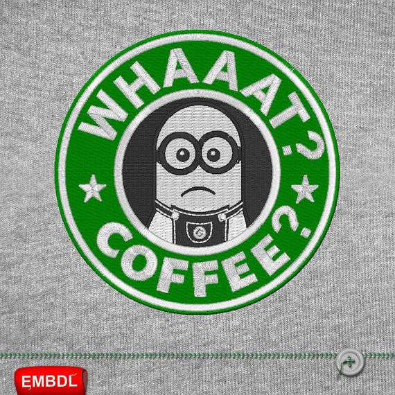 Minion Whaaat Coffee - Embroidery Design Instant Download #EmbroideryDownloadCom