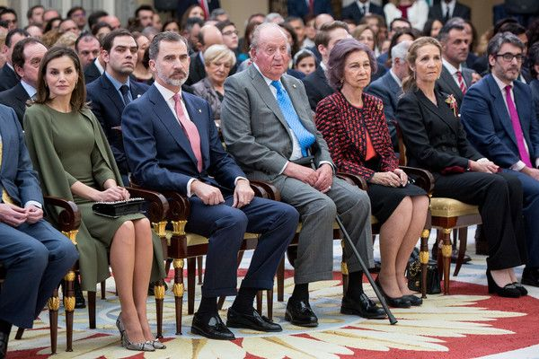 (L-R) Queen Letizia of Spain, King Felipe VI of Spain, King Juan Carlos, Queen Sofia and Princess Elena of Spain attend the National Sports Awards ceremony at El Pardo Palace on February 19, 2018 in Madrid, Spain.