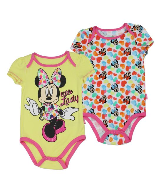 Yellow Minnie Mouse 'Little Lady' Bodysuit Set