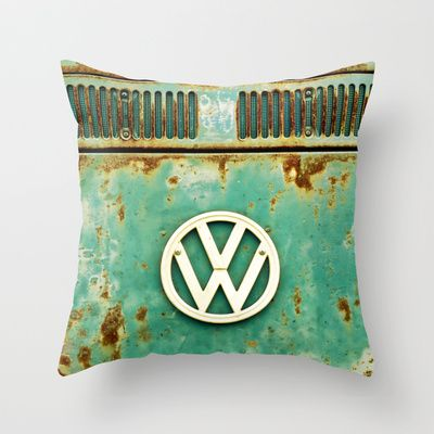VW Retro Throw Pillow by Alice Gosling - $20.00 http://society6.com/
