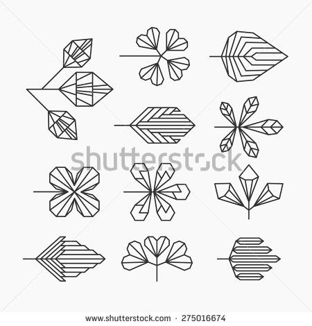 Hipster geometrical leaves, set of isolated symbols, logos.