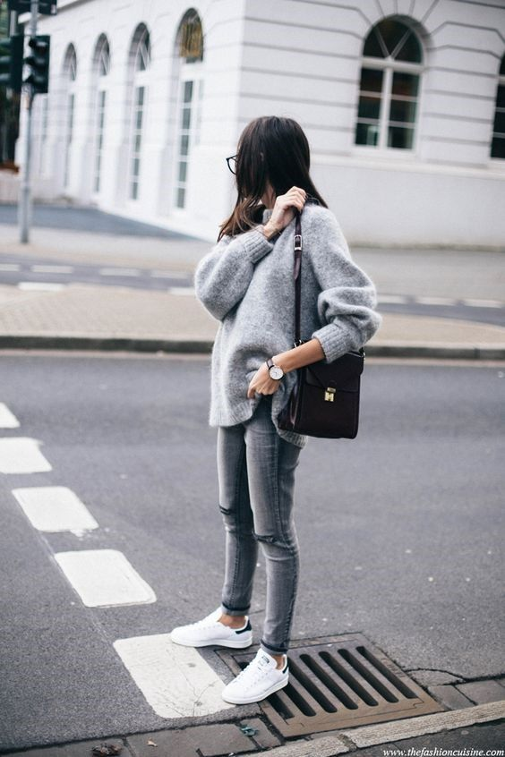 RORESS closet ideas #women fashion outfit #clothing style apparel Oversized Sweater and White Shoes