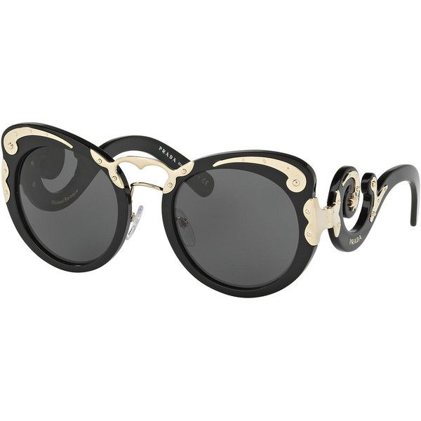 Prada Monochromatic Butterfly Scroll Sunglasses ($520) ❤ liked on Polyvore featuring accessories, eyewear, sunglasses, black, prada eyewear, rounded sunglasses, butterfly sunglasses, double bridge sunglasses and prada