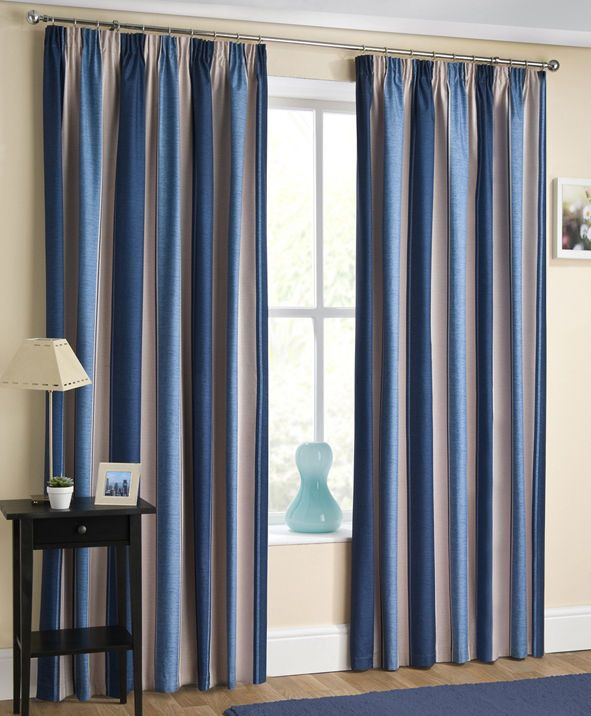 Twilight Striped Thermal Dim Out ready Made Pencil Pleat Curtains | eBay