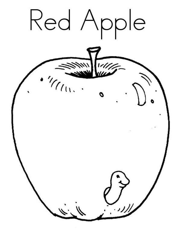 Apple A Worm Is Smiling Inside Red Apple Coloring Page Apple Coloring Pages Red Apple Apple Coloring