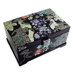 Mother of Pearl Jewelry Box with Garden of Peacock Design