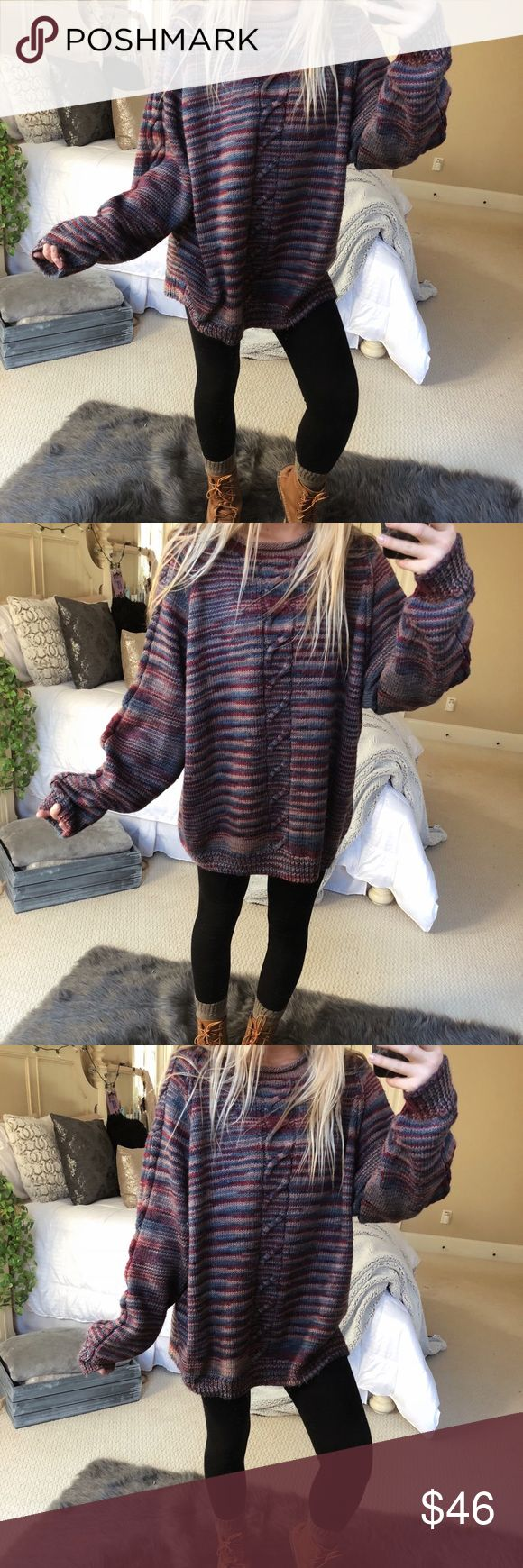 cozy multicolor knit sweater gorgeous multicolor oversized chunky knit sweater. so so plush and cozy! fits a size medium or large ☕️☕️🌿 — * all offers 100% welcomed + encouraged * bundle for a private discount of at least 20% off  * orders guaranteed to ship within 1-2 days unless stated otherwise * ask me any questions if you ever have any! xo Sweaters