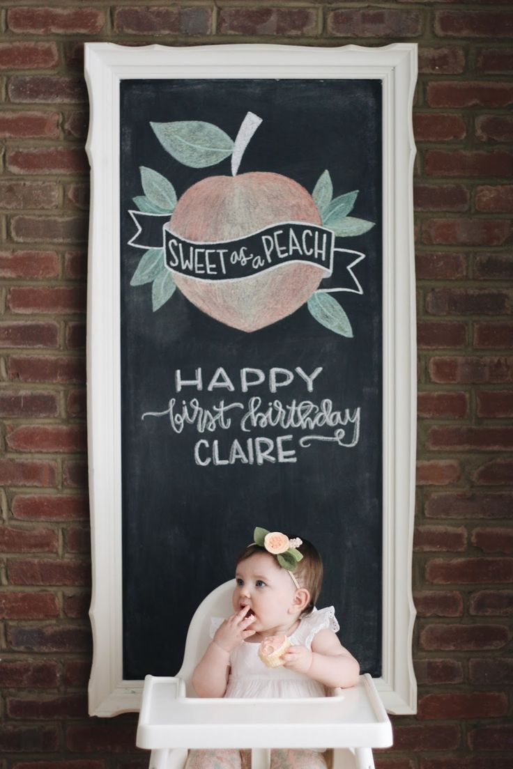 Peachy First Birthday Party Chalkboard