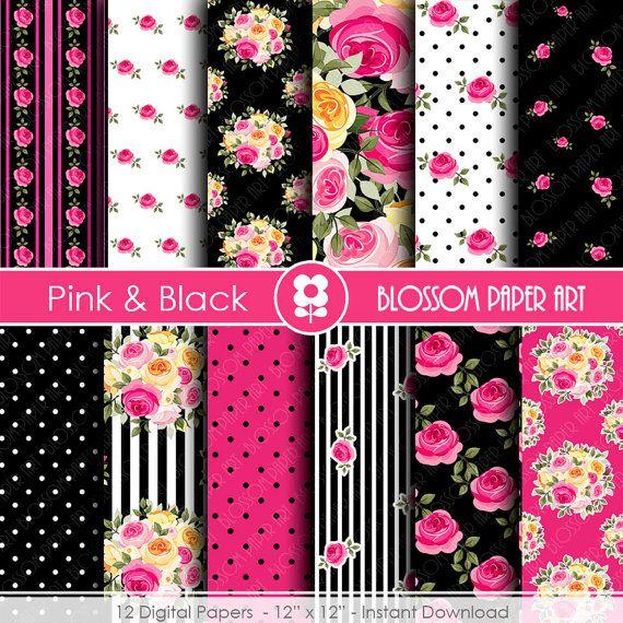 Papel Decorativo Rosa y Negro Papeles por blossompaperart en Etsy More