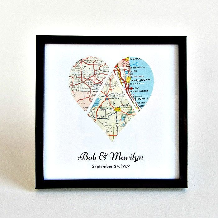 Personalized Wedding Map Heart, Framed Wedding Heart, Bridal Shower Map Gift, Newlywed Map Heart, Wedding Gift Last Name Established