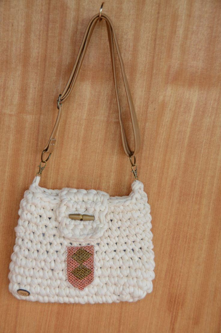 Ivory Tote. Handmade crochet bag.