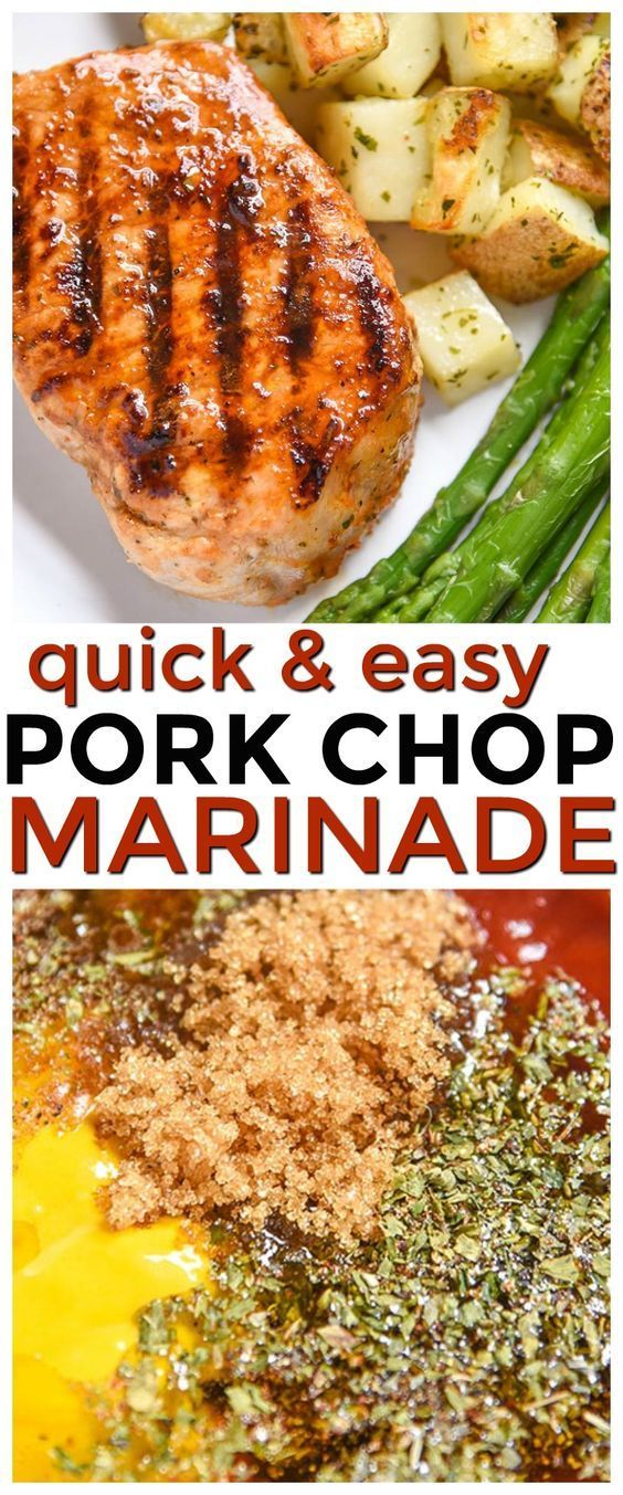 If you're looking for a pork chop marinade that's perfect for grilled pork chops or even baked pork chops this is it! It's full of flavor and a quick and easy marinade recipe. This is perfect for your family dinner or your summer bbq parties. You can even use this pork chop marinade on chicken and steak! via @CourtneysSweets