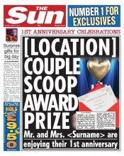 'The Sun' Personalised 1st Anniversary Newspaper
