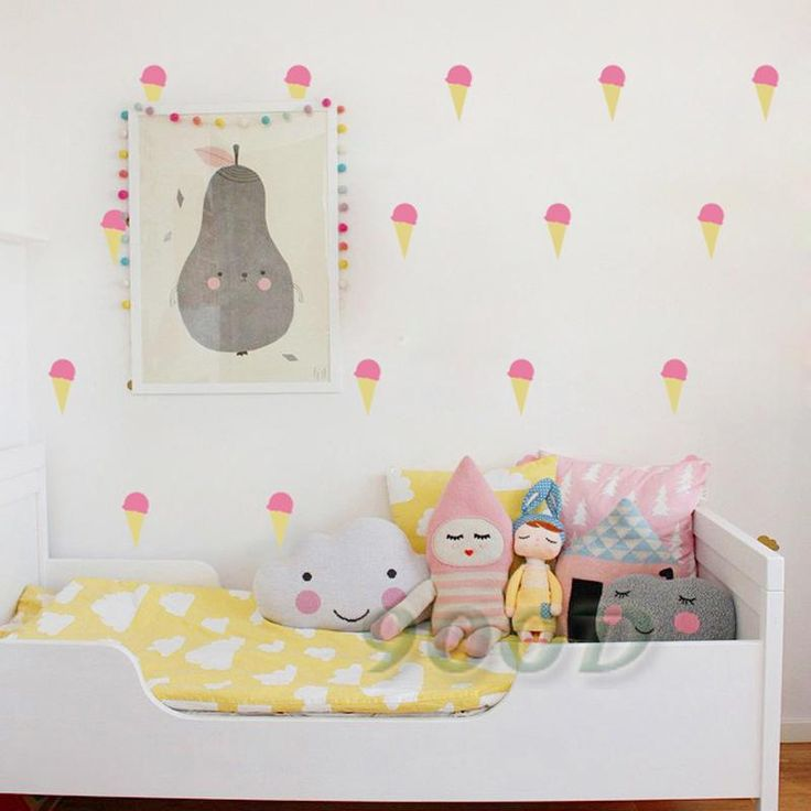 Cartoon Little ice cream Wall Stickers Decals, Removable Child Room decoration