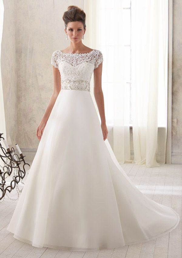 Blu by Mori Lee 5212 Sleeved Lace Wedding Dress