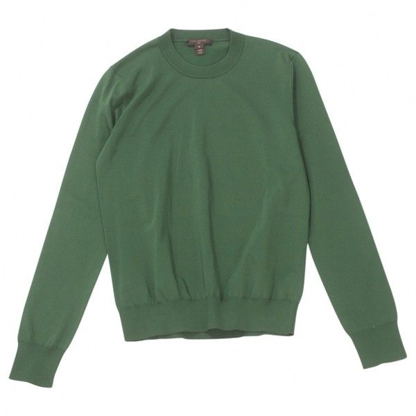 Pre-owned Louis Vuitton Sweater ($249) ❤ liked on Polyvore featuring tops, sweaters, green, women clothing knitwear, louis vuitton sweater, green top, louis vuitton and green sweater