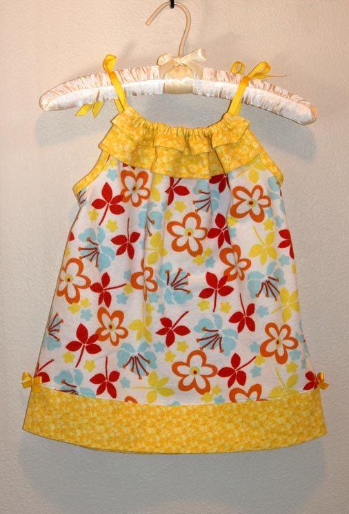 pillowcase dress pattern...love the ruffled top! Love.....