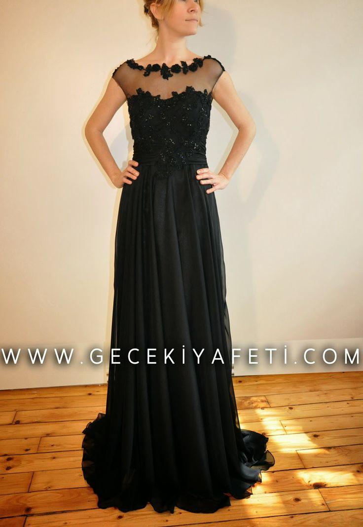 siyah şifon elbiseler