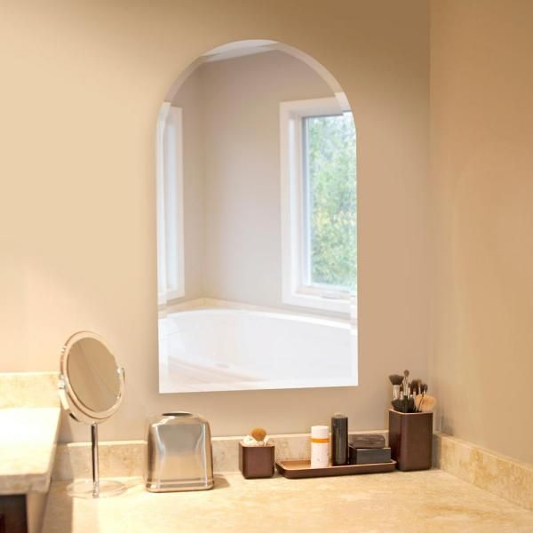 19 In X 32 In Arched Frameless Mirror 36017 The Home Depot Mirror Wall Arch Mirror Frameless Mirror