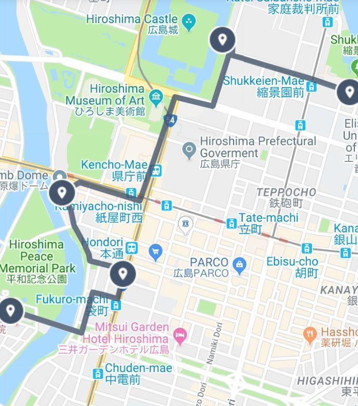 Walking Tour Map of Hiroshima Japan   Sightseeing Maps in 2019 ...