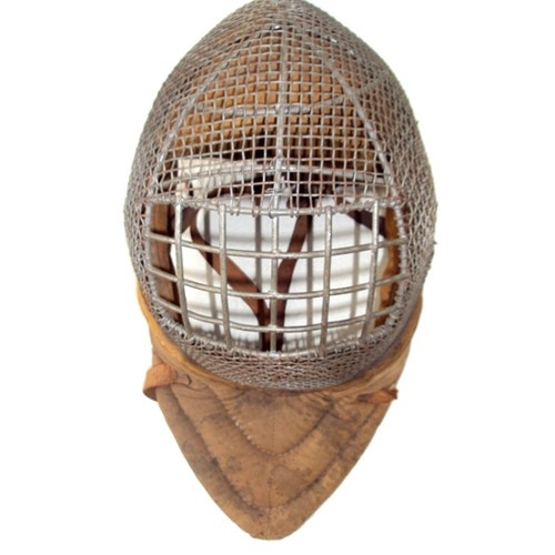 LATE 1800S   FENCING MASK   Saber fencing. Later saber masks had thick leather on top for the head cut.   Those eye holes are big!!...